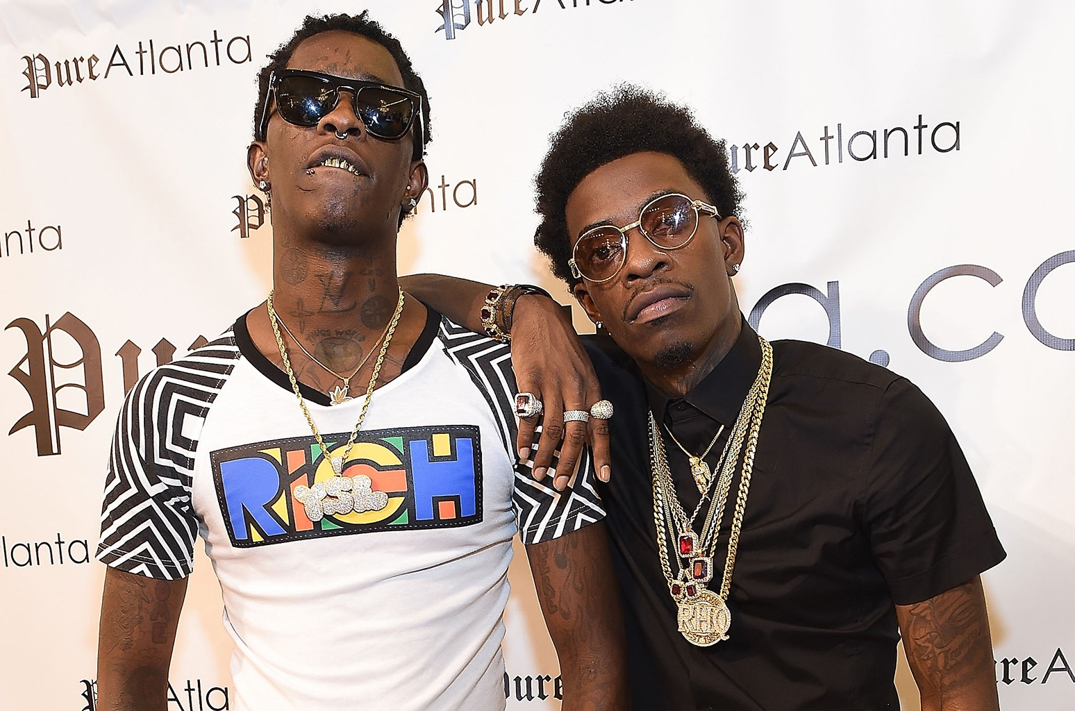 Young Thug and Rich Homie Quan attend the Rich Homie Quan By 8732 Collection Launch at Pure Atlanta at Lenox Square on Aug. 26, 2014 in Atlanta.