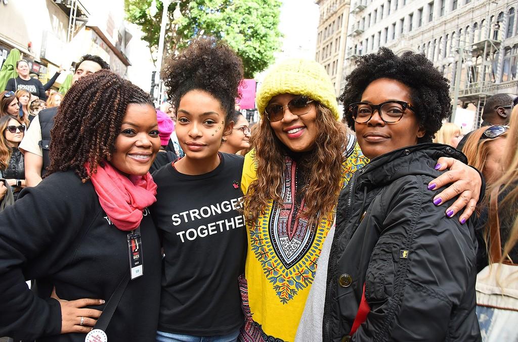 Yvette Nicole Brown, Yara Shahidi, Kym Whitley and Keri Shahidi attend the Women's March Los Angeles on January 21, 2017 in Los Angeles, California.  (Photo by Araya Diaz/Getty Images)