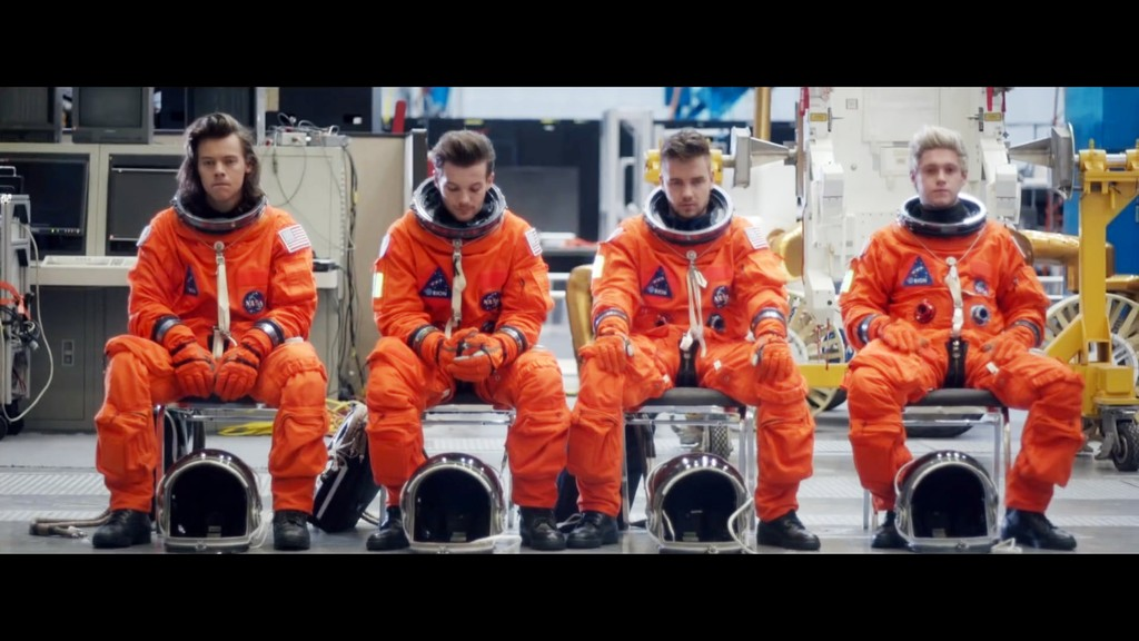 "One Direction's ""Drag Me Down"" music video, their first without Zayn Malik."