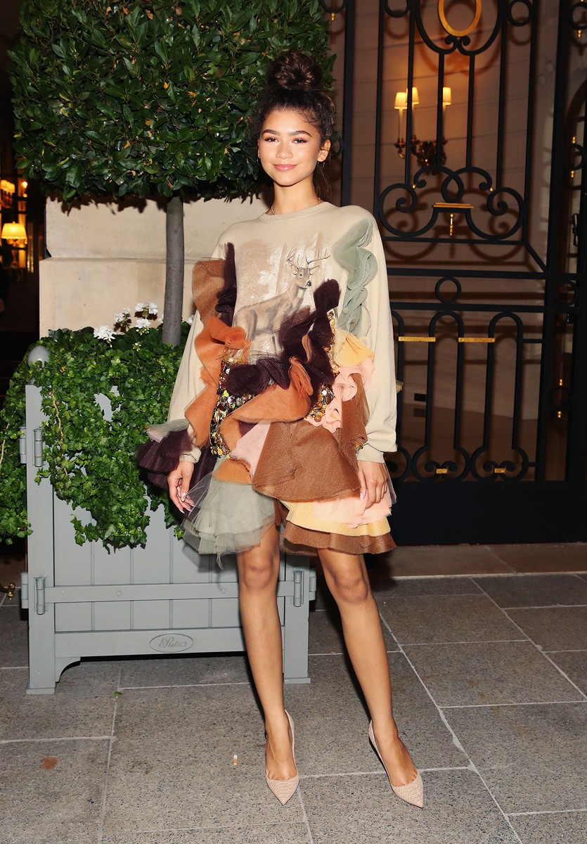 Zendaya is seen wearing Viktor and Rolf during Haute Couture Fall/Winter 2017-2018 on July 4, 2017 in Paris, France.