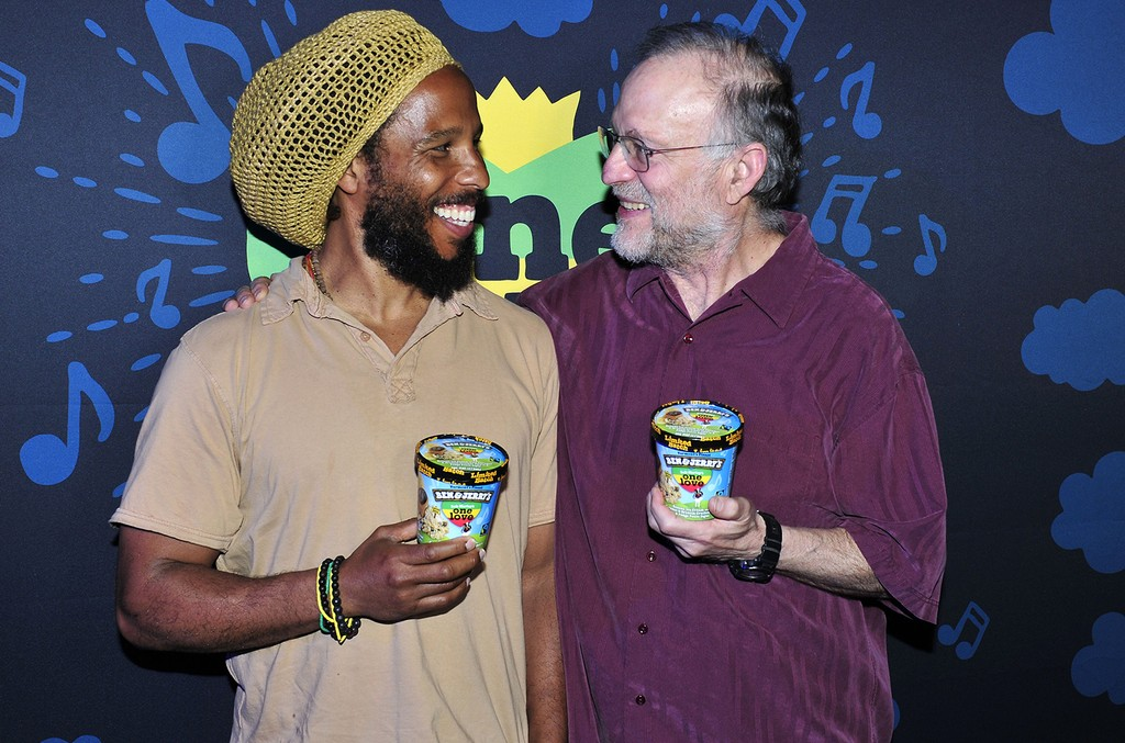 Ziggy Marley and Jerry Greenfield, co-founder of Ben & Jerry's, celebrate the launch of the ice cream brand's new One Love limited batch flavor available at Scoop Shops and retailers nationwide.