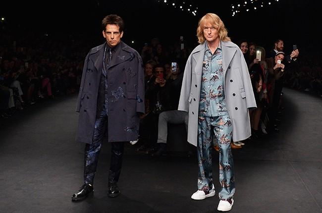 Ben Stiller and Owen Wilson as Derek Zoolander and Hansel walk the runway during the Valentino show