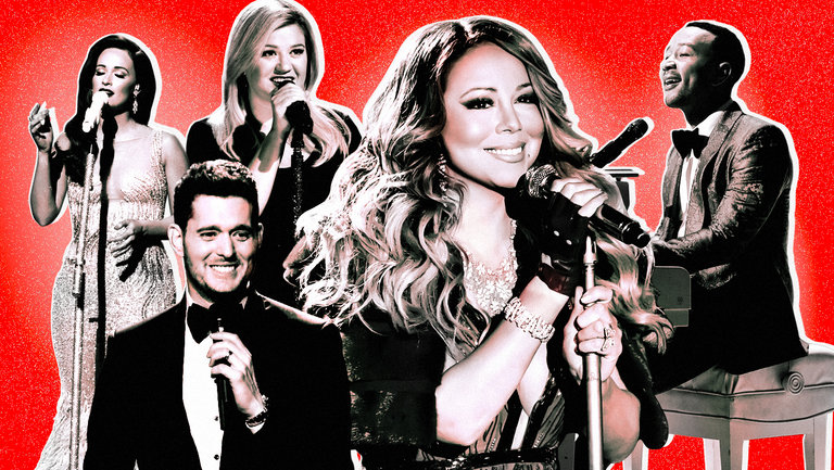 <p>Kacey Musgraves, Michael Bublé, Kelly Clarkson, Mariah Carey and John Legend</p>