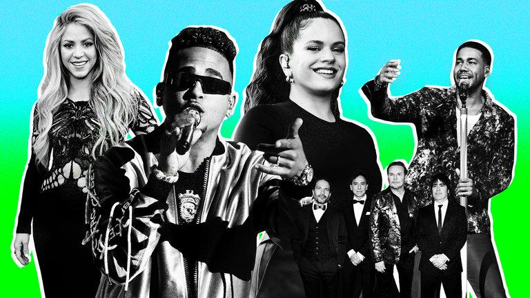<p>Shakira, Ozuna, Rosalía, Maná and Romeo Santos</p>