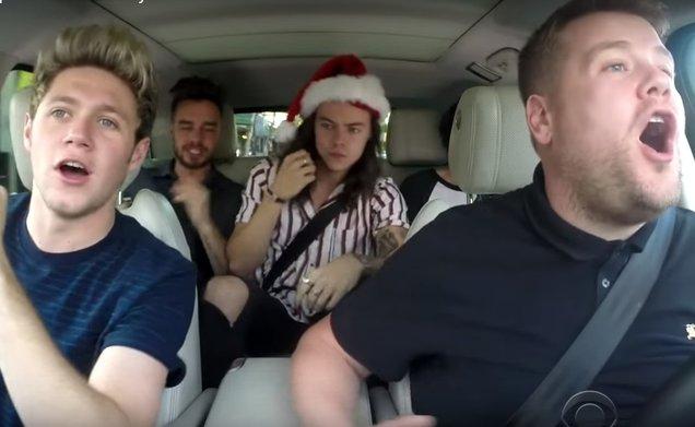 "One Direction and James Corden in ""Christmas Carpool Karaoke"""