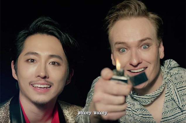 Conan O'Brien Steven Yeun K Pop Fire 2016