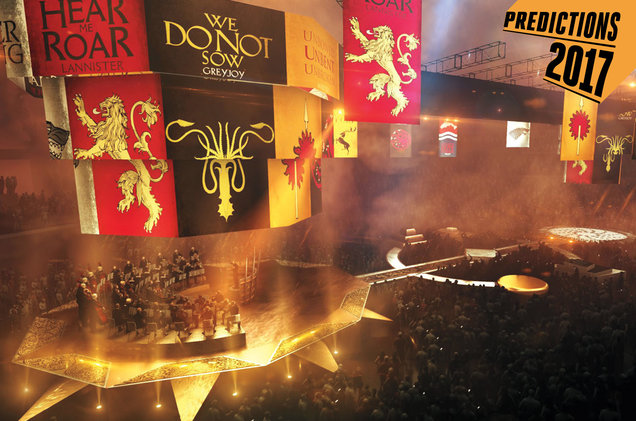 """""""The King's Arrival,"""" part of the Game of Thrones concert production in which the show's houses are introduced through their banners (and audience members are encouraged to vocally support their favorite)."""