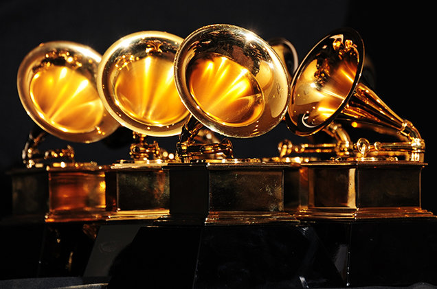 Grammy trophies photographed in 2012.