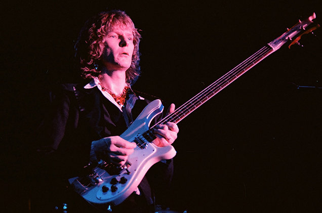 Chris Squire of Yes performs on stage at Wembley Arena, on October 28th, 1978 in London
