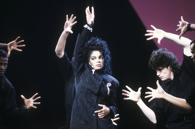 Janet Jackson performs in 1987