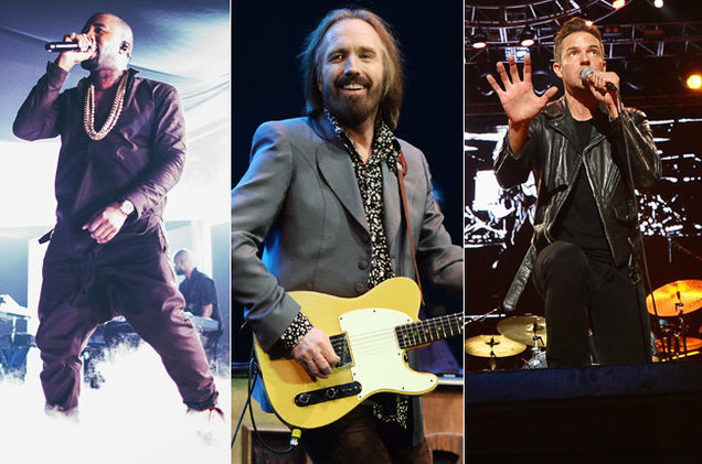 Kanye, Tom Petty, and The Killers performing