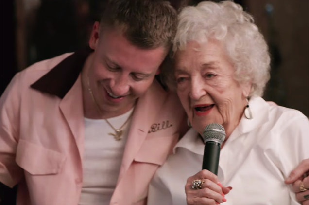 """A scene from the video for """"Glorious"""" by Macklemore featuring Skylar Grey."""