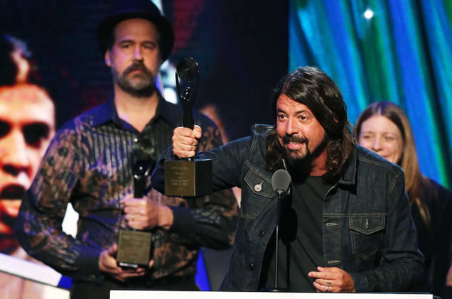 Dave Ghrol and Krist Novoselic of Nirvana at the 2014 Rock and Roll Hall of Fame Induction