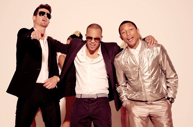 Robin Thicke, T.I., and Pharrell in Blurred Lines