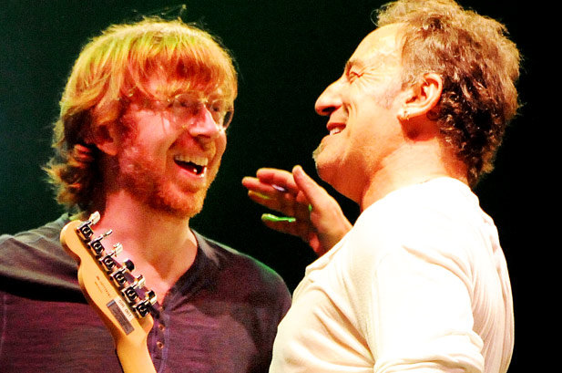 Phish's Trey Anastasio and Bruce Springsteen onstage at Bonnaroo