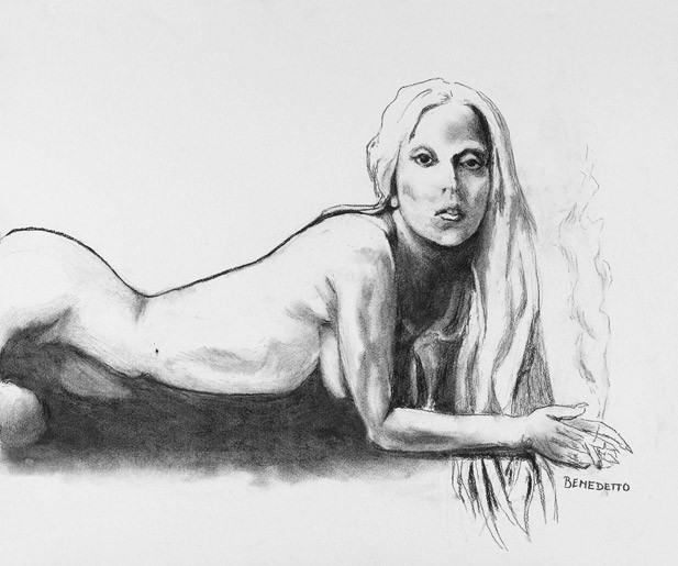 For Sale: Lady Gaga Nude Sketch by Tony Bennett