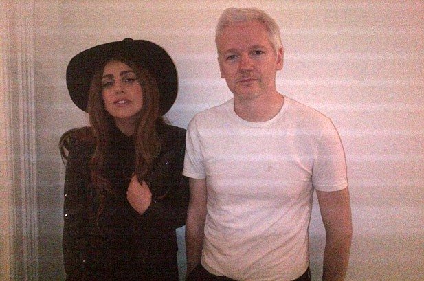 Lady Gaga Leaks Photo of Julian Assange Visit