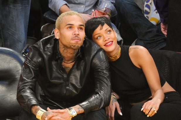 Rihanna & Chris Brown Get Cozy at Lakers Game on Christmas Day